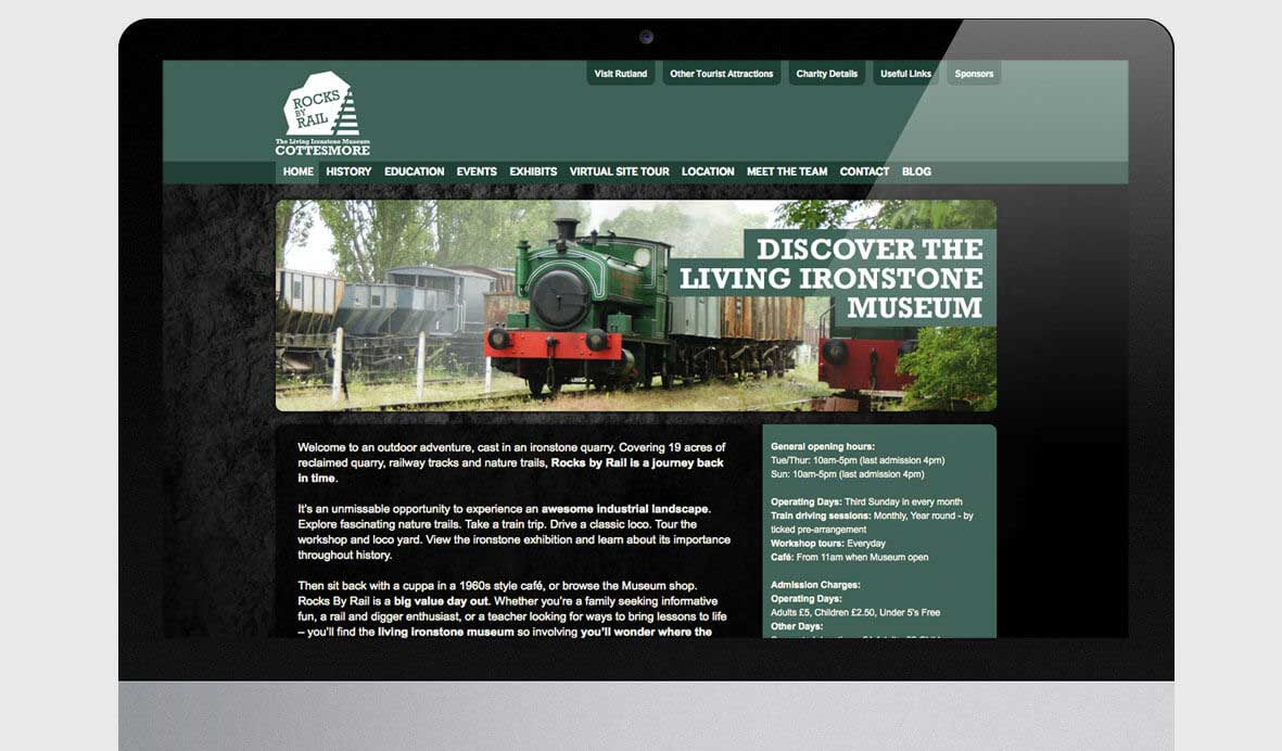 Rocks by rail website design