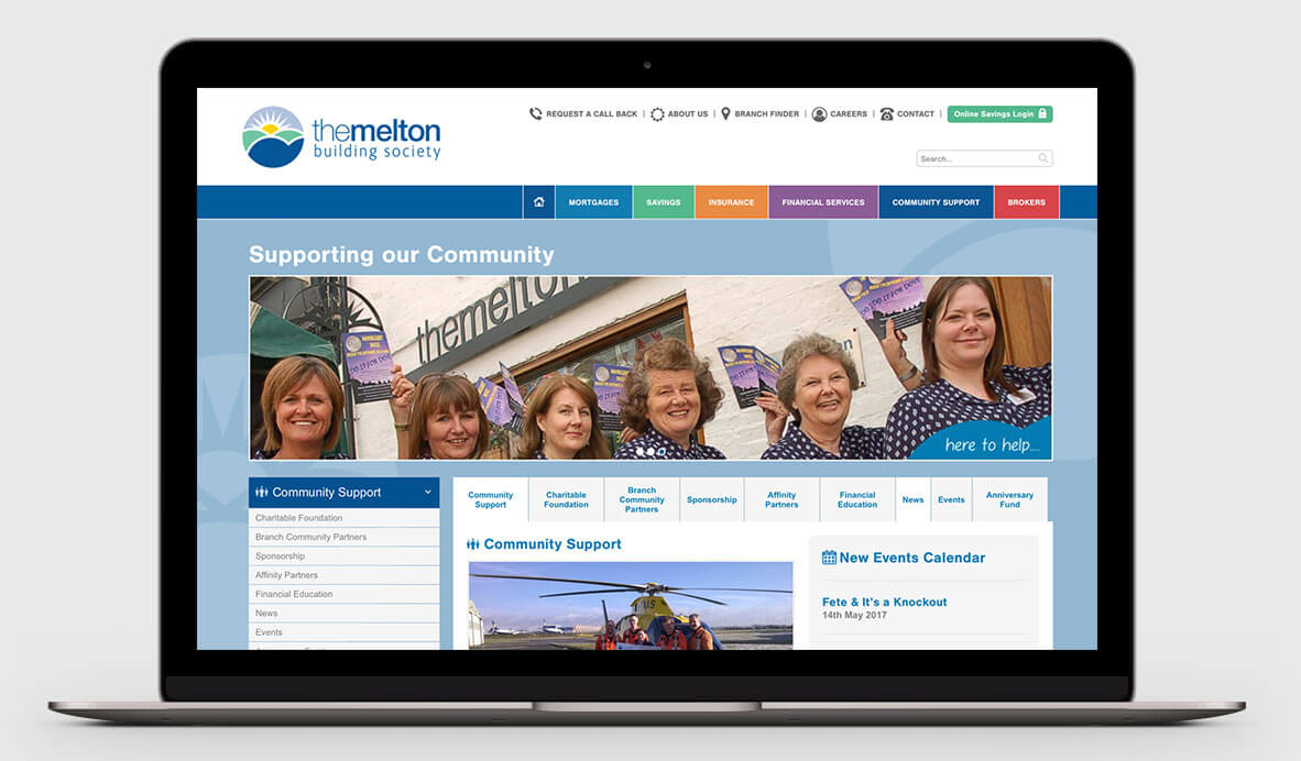 The Melton Building Society website design