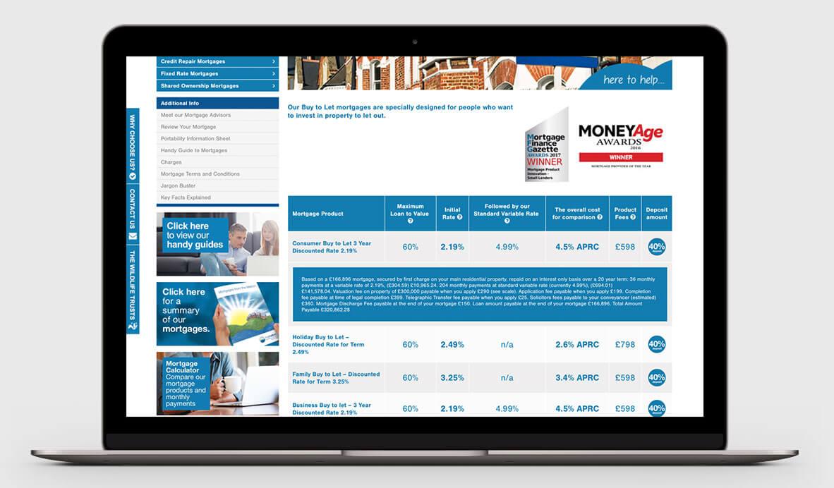The Melton Building Society website design