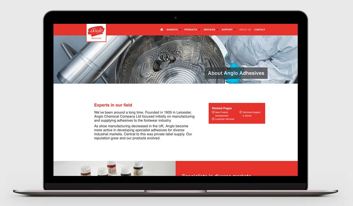 anglo adhesives wordpress design 6